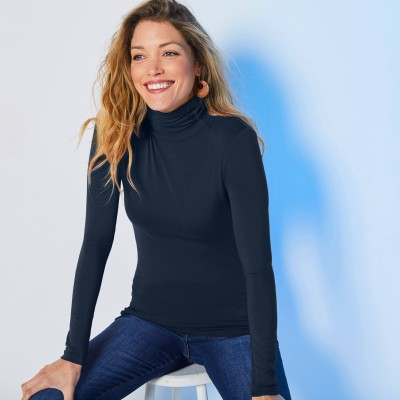 Sous-pull col montant maille stretch Marine: Vue 1
