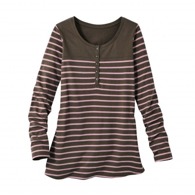 Tee-shirt col tunisien rayé Taupe / rose: Vue 1