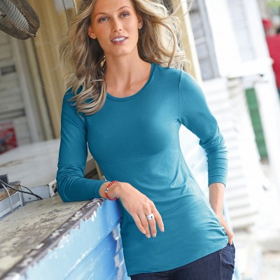 Tee-shirt col rond viscose stretch Bleu: Vue 1