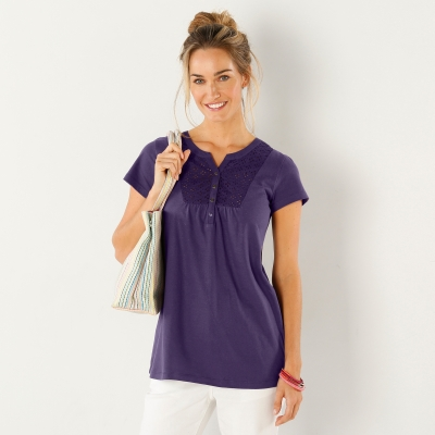 Tee-shirt col tunisien broderie anglaise Violet: Vue 1