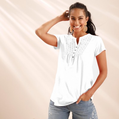 Tee-shirt col tunisien broderie anglaise Blanc: Vue 1