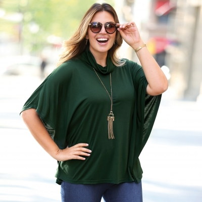 Tee-shirt poncho col roulé - manches coude
