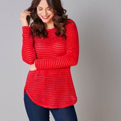 Sweat maille velours effet rayé Rouge: Vue 1