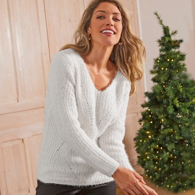 Pull fantaisie maille brillante Naturel: Vue 1