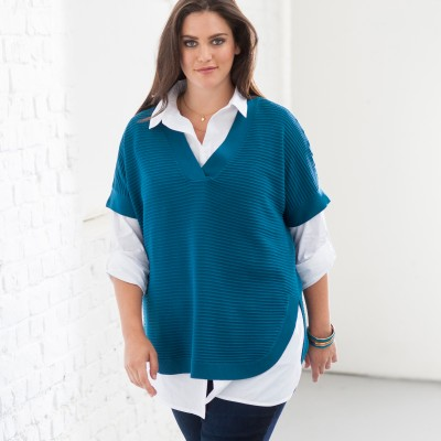Pull poncho maille reliéfée