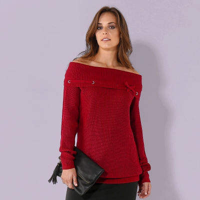 Pull oeillets manches longues Rouge: Vue 1