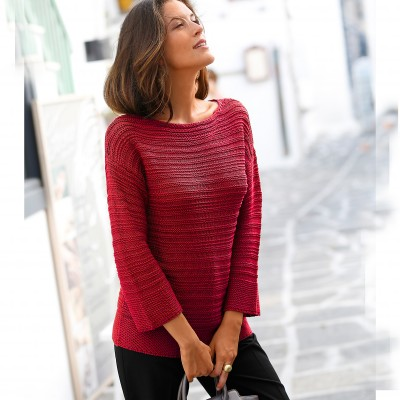 Pull maille fantaisie Rouge: Vue 1