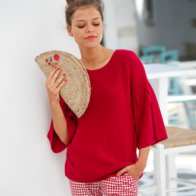 Pull col rond manches fantaisie Rouge: Vue 1