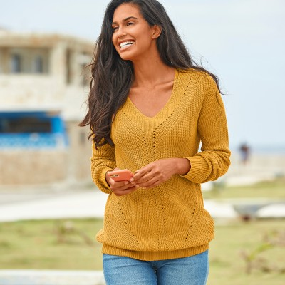 Pull col V maille fantaisie Ocre: Vue 1