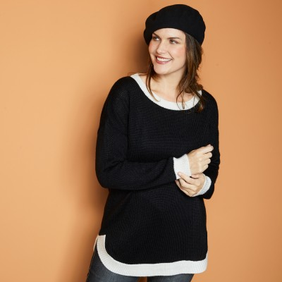 Pull bicolore - toucher mohair