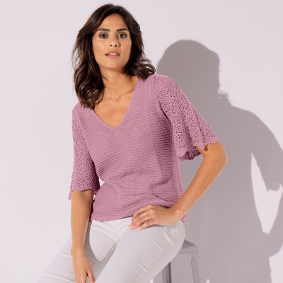 Pull fantaisie manches coudes