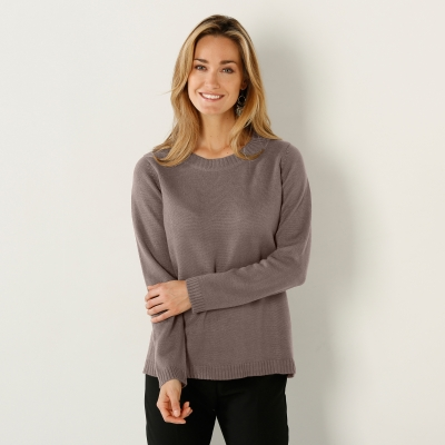 Pull col rond Taupe: Vue 1