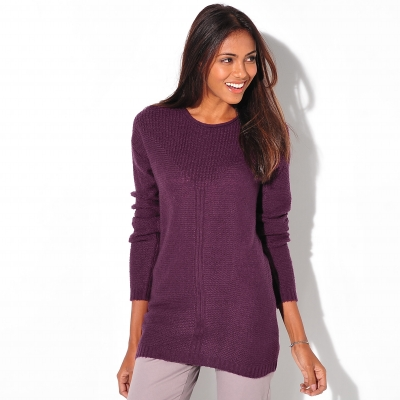 Pull manches longues maille fantaisie Prune: Vue 1