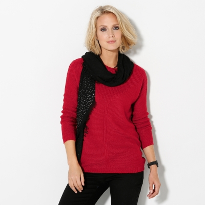 Pull manches longues maille fantaisie Rouge: Vue 1