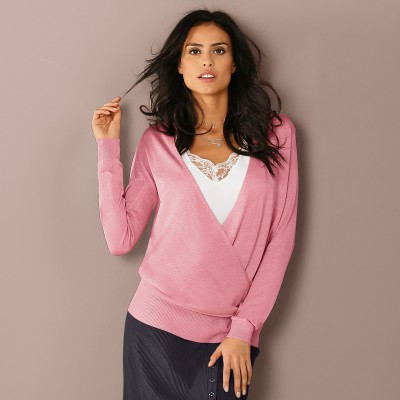 Pull cache-coeur Rose: Vue 1