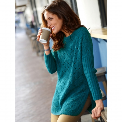 Pull poncho maille fantaisie