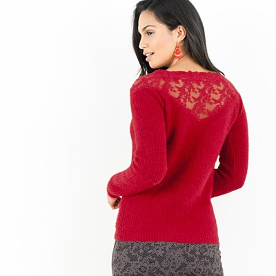 Pull tulle brodé manches longues Rouge: Vue 1