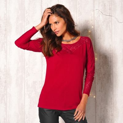 Tee-shirt maille dentelle Rouge: Vue 1