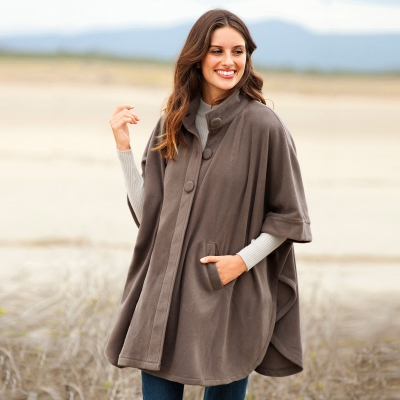 Poncho polaire Taupe: Vue 1