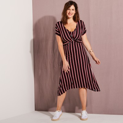 Robe longue rayée manches courtes
