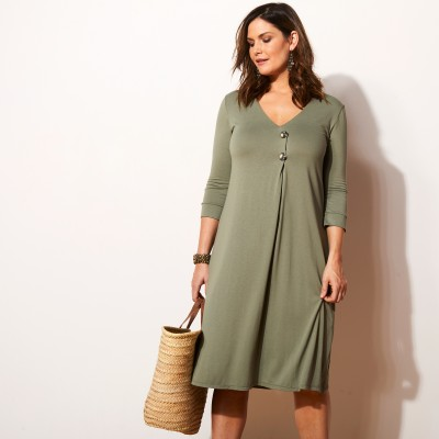 Robe fluide en maille jersey - manches 3/4