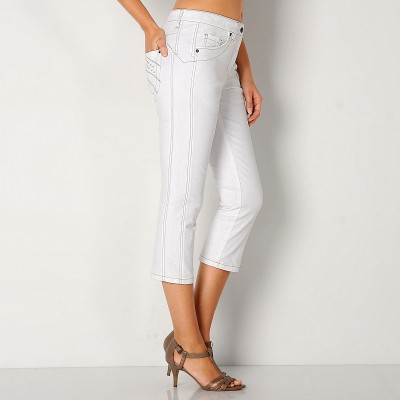 Pantacourt amincissant denim extensible Blanc: Vue 1