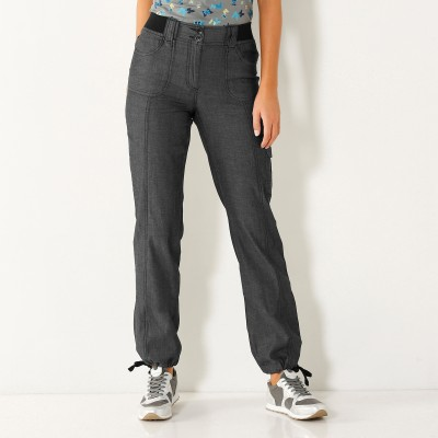 Pantalon denim ceinture maille Black: Vue 1