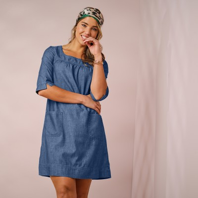 Robe jean col rond