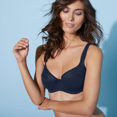 Soutien-gorge coton dentelle uni Coria - avec armatures Marine: Vue 1