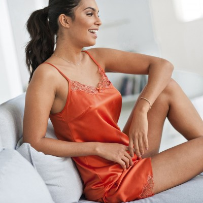 Short - satin dentelle Orange: Vue 1
