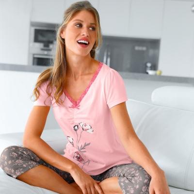 T-shirt pyjama jersey manches courtes Rose: Vue 1