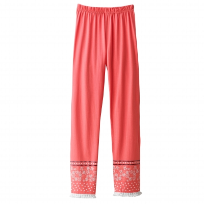 Pantalon base imprimée finitions pompons - coton