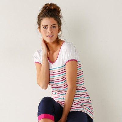 Tee-shirt rayures multicolores - jersey coton