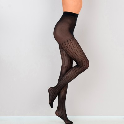 Collants carreaux 30 deniers - lot de 2