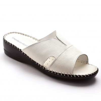 Mules extra larges cuir - blanc