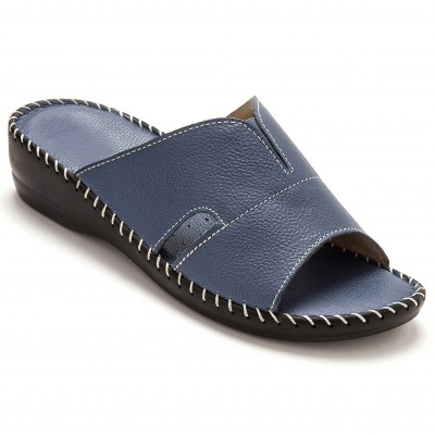 Mules extra larges cuir - marine
