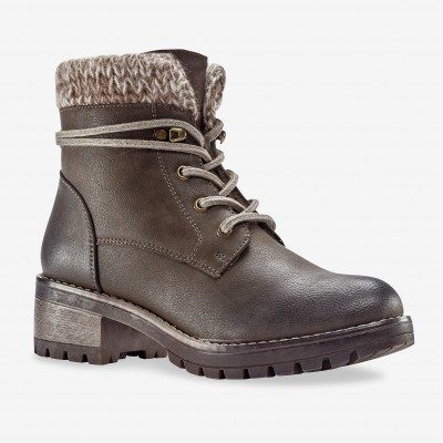 Bottines montagnardes, col chaussette - taupe Taupe: Vue 1