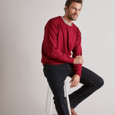 Pull uni col rond Rouge carmin: Vue 1
