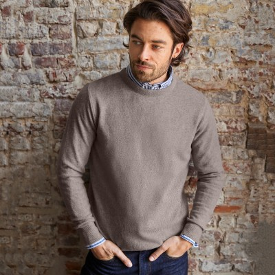 Pull col rond 80% laine Taupe clair: Vue 1