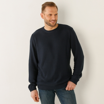 Pull col rond maille point de riz Anthracite: Vue 1
