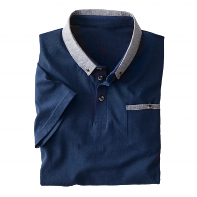 Polo manches courtes jersey col chambray Marine: Vue 1