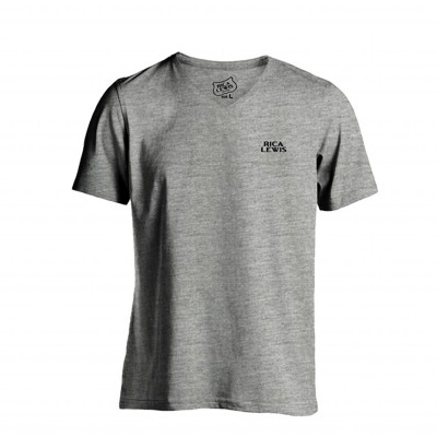 Tee-shirt col V manches courtes gris chiné