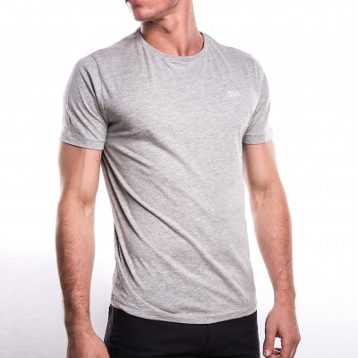 Tee-shirt Club col rond manches courtes gris chiné
