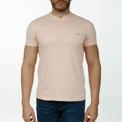 Tee-shirt rose col V manches courtes