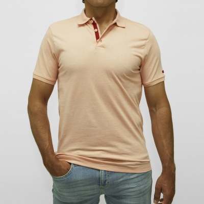 Polo rose chiné manches courtes en maille jersey