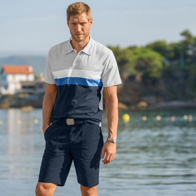 Polo maille jersey effet rayures manches courtes