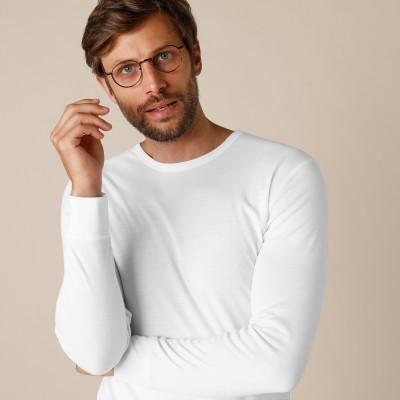 Tee-shirt manches longues dos long polyester - lot de 2 Blanc: Vue 1