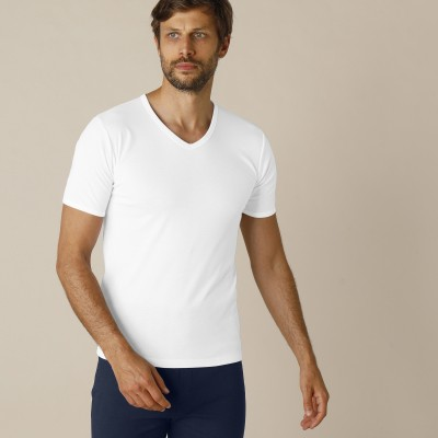Tee-shirt col V manches courtes polyester - lot de 2 Blanc: Vue 1