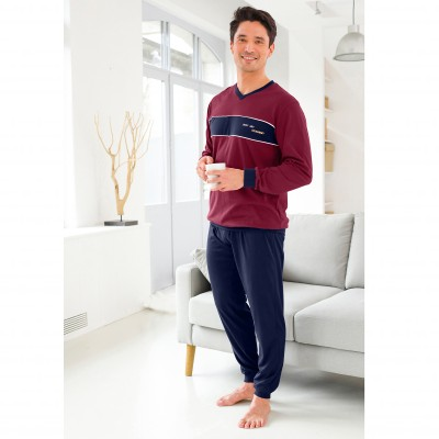 Pyjama jogging - lot de 2 Marine + bordeaux: Vue 1