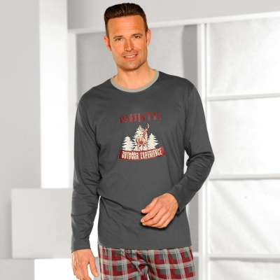 Tee-shirt pyjama manches longues Anthracite: Vue 1